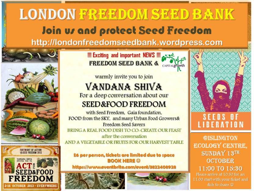 Vandana Shiva flyer 13th Oct